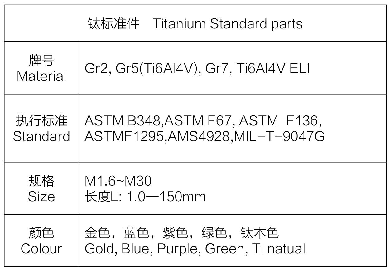 钛标准件规格